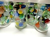 Vintage Marbles In Glass Jar Akro Agate, Peltier, Jabo, Vitro, Marble King, More