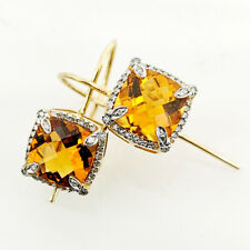 Rarities Carol Brodie Gold Vermeil Madeira Citrine & Diamond Wire Design Earring
