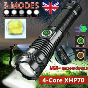 1200000 Lumens XHP70 LED Ultra Bright 26650 Powerful USB Flashlight Torch UK