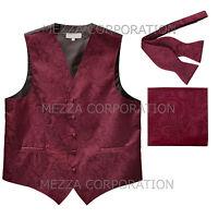 New Men's paisley burgundy vest Tuxedo Waistcoat self tie bow tie & hankie