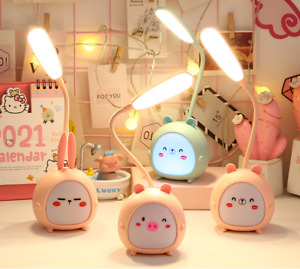 TableLamp with LED Night Light, 2 IN 1,USB Rechargeable, Cute Cartoon
