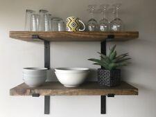 """9 1/2"""" Deep Industrial Rustic Floating Shelf w/ Flat Steel Bracket, Kitchen"""