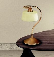 Bedside Lamp Lumetto Classic Metal And Glass Bronze Golden
