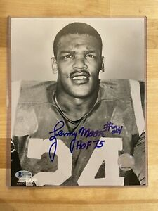 Lenny Moore Autograph 8x10 Auto Signed Photo Colts Beckett Certified HOF NFL