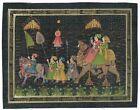 Maharaja And Maharani Outing At Night Rajasthan Art Gallery On Silk Cloth
