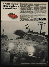 1968 Red Saab Car - It Faces Weather Other Small Cars Shouldn't Face Vintage Ad