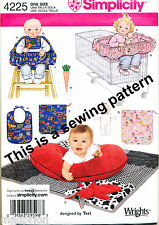 SIMPLICITY SEWING PATTERN 4225 BABY HIGH CHAIR/SHOPPING TROLLEY COVER PILLOW BIB