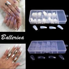 100Pcs Ballerina Tips False Nail Full Cover False Nail Long Coffin Natural Clear