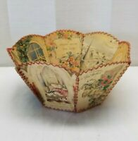 Vintage Antique Folk Art Basket Hand Made of Greeting Christmas Birthday Cards