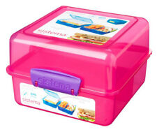 Sistema Pink 3 Compartment Klip It 1.4L Lunch Cube Box Container