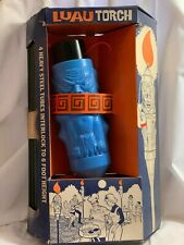 Vintage 1960's Luau Tiki Patio Torch Blue Plastic with Steel Tubes- Unused- NOS