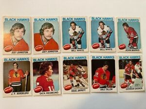 LOT 10 CARDS NHL OPC 1974 1975 CHICAGO BLACK HAWKS WHITE TALLON GAGNON REDMOND
