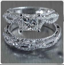 14K Solid White Gold 1.22 Carat Princess Cut Diamond Engagement Bridal Ring Set
