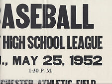 8301 Manchester NH 1952 High School baseball poster Bradley, St. Marie, Anthony