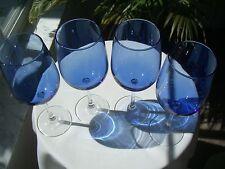 """Set of 4 Tall Blue Bowl Clear Stem Wine Glasses 16oz. 9 1/4"""" Tall"""