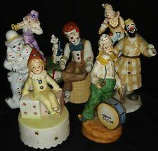 Vintage Ceramic Clown Figurines & Musicals Lot Of 7