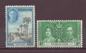 Nyasaland, Coronation & Scenery, MH, 1937, 1945, OLD