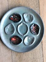 Vintage FRENCH OYSTER PLATE, Ceramic,1940s-50s,Blue/Red GORGEOUS