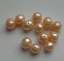 12 Irisé Pêche Rond D'eau Douce Perles. 8 mm Bijoux/Bead Crafts