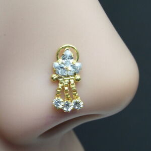 Indian Dangle Nose Stud White CZ stone corkscrew gold plated nose piercing stud