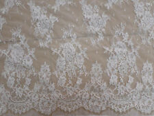 Lace Fabric White Embroidery Flower Soft Cord Popular Wedding Fabric 3yards/pc