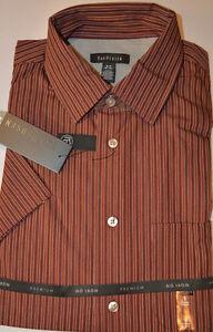 Men's Van Heusen Burgundy Stripe Short Sleeve Premium Shirt Sizes S, XL, 2XL