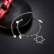 b672ac3bdc5 Womens 925 Sterling Silver Star Of David Foot Chain Elegant Ankle Bracelet   A08