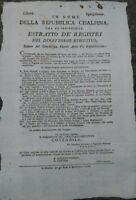 1798 REPUBBLICA CISALPINA BANDO SOPPRESSIONE RELIGIOSA BERGAMO LAGO DI GARDA....
