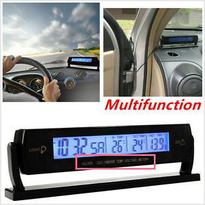 Car Auto Multifunction Temperature Voltage Clock Digital LCD Thermometer Monitor