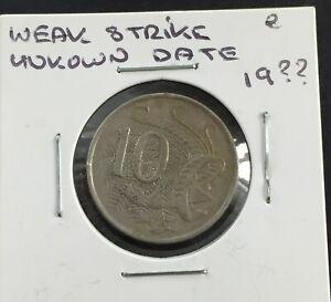 AUSTRALIA 19?? 10 CENT COIN......WEAK STRIKE UNKNOWN 19?? DATE ERROR