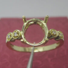 5x7mm Pear Cut Solid 14kt 585 Yellow Gold Natural Diamond Semi Mount Ring