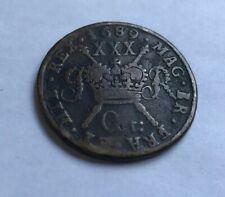 More details for antique english u.k. 1689 king james ii gun money coin