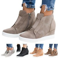 Women's Mesh Zipper Platform High Top Shoes Round Toe Hidden Wedge Heel Sneakers