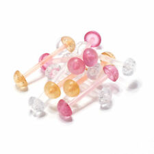 """Half Glitter Balls Set Of 10 Flexible Tongue Ring 14g 5/8"""" Piercing With"""