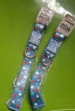 """2 Petmate Dog Collar, Blue Dots/Damask, Large, 16-26""""x1"""" New Sealed"""