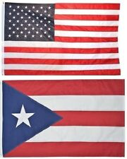 3x5 USA American Flag & Puerto Rico Friendship EMBROIDERED 210D Premium Set