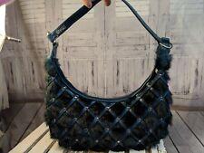 Matt Nat montreal via vegan blue faux fur purse bag handbag tote shoulder party