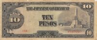 Philippines  10  Pesos  ND.  1943  P 111a  Block  { 34 }  Circulated Banknote M