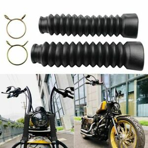 1 Pair Motorcycle Rubber Front Fork Dust Cover Gaiters Gaitors Boots Shock