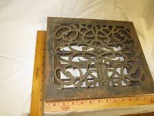 Victorian Cast Iron Floor Grille OD 11 5/8 9 5/8 Heat Grate Register Louvers VTG
