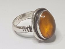 1B1606 Alter Antiker Silber 925 Ring mit Bernstein