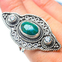 Gigantic Chrysocolla, Blue Topaz 925 Sterling Silver Ring Size 8 Jewelry R31028F