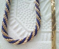 Gold tone chain necklaces and 1 Gold tone and blue rope chain bracelet