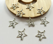 40PCS 25MM Vintage Silver Stars Flower Fairy Jewelryfinding DIY Charm Pendant