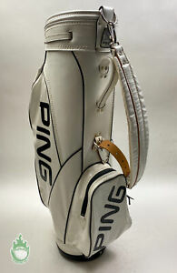 Used Vintage Ping Golf Cart/Carry Bag 4-Way Divided White W/ Handle & Strap