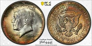 1964-P SILVER KENNEDY HALF DOLLAR PCGS MS64 BU MONSTER TONED NEON COLOR UNC
