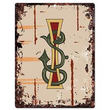 PP0517 Alphabet Medieval Initial Letter I Chic Sign Bar Shop Store Home Decor