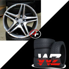 """18"""" Staggered 5 Twin Style Wheels w Tires Fits Mercedes AMG C CLA CLK E Class"""
