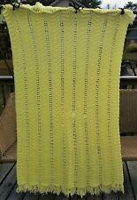 "Afghan Crochet Blanket Handmade Yellow 47""x56"""