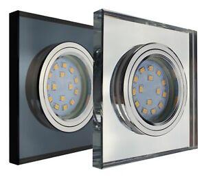 LED Einbau-Strahler Decken-Spots Glas Eckig GU10 230V Kristall Leuchte F